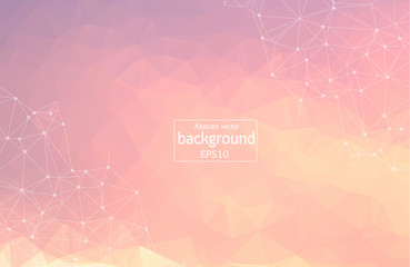 Abstract Pink Polygonal Space Background with Connecting Dots and Lines. Geometric Polygonal background molecule and communication. Concept of science, chemistry, biology, medicine, technology.