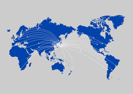 世界地図 グローバリゼーション ビジネス 旅行 インターネット