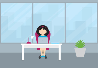 Young woman - manager sitting in a study on a red chair at a white desk and working on a laptop. Room with flowerpot, large window and views of city buildings. - flat design