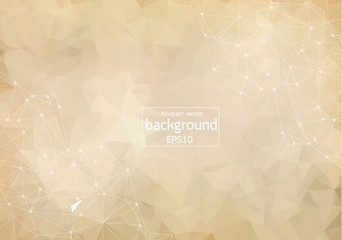 Abstract Brown Polygonal Space Background with Connecting Dots and Lines. Geometric Polygonal background molecule and communication. Concept of science, chemistry, biology, medicine, technology.