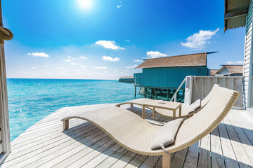 Beautiful Luxury terrace of water villa in Maldives with turquoise sea,Vacation in summer for relax in holidays