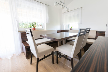 dining room modern furniture with white material and zebrano wood
