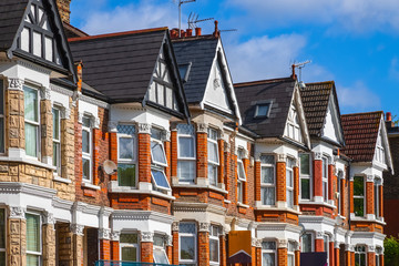 A row of Edwardian style terraced houses in London
