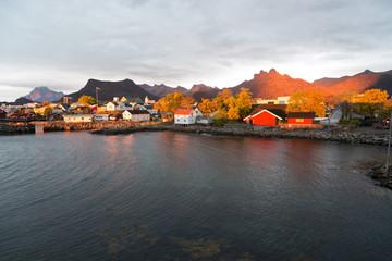 norwegian typical houses in svolvaer, norway, europe, at morning, lofots, lofoten, sunrise