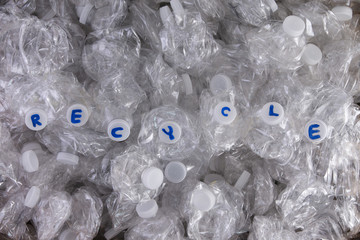 Crushed plastic pet bottles for recycling