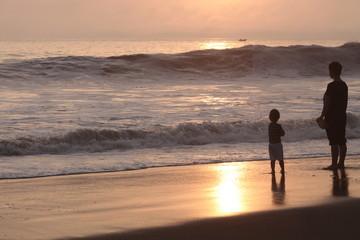 pacific Ocean . Peru, sunset