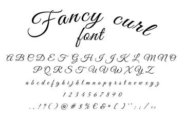 Fancy curl alphabet font