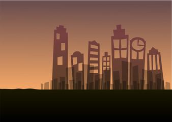 cityscape landscape sunset silhouette background scene