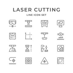 Set line icons of laser cutting