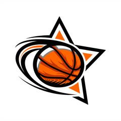 Basketball Swoosh Star Logo 04