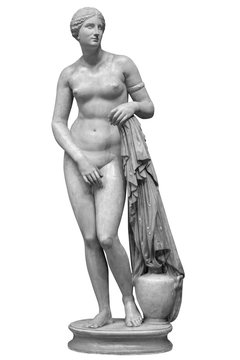 Ancient marble statue of Venus isolated on white