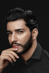 Men Haircut. Man With Hair Style, Beard And Beauty Face Portrait