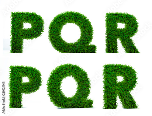 54b08d251 Letter of grass alphabet. Grass letter P, Q, R isolated on white  background. Symbol with the green lawn texture. 3D Render