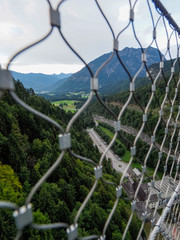 Pedestrian bridge called Highline 179 in Reutte, longest 406 meters rope bridge in the world bring together the Ehrenberg Ruins and Fort Claudia. Height of the bridge 114 metres. Germany, august 2018