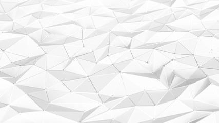 Abstract white low-poly background. Polygonal 3d surface