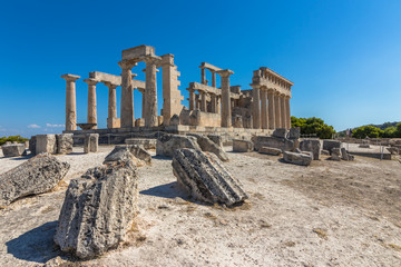 The Temple of Aphaia on Aegina island in Greece. Wall mural