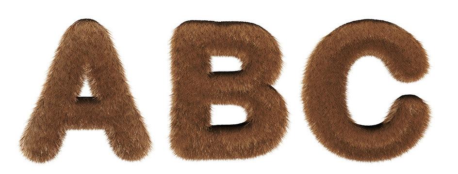 Alphabet fur - font 3d render - letters A, B, C