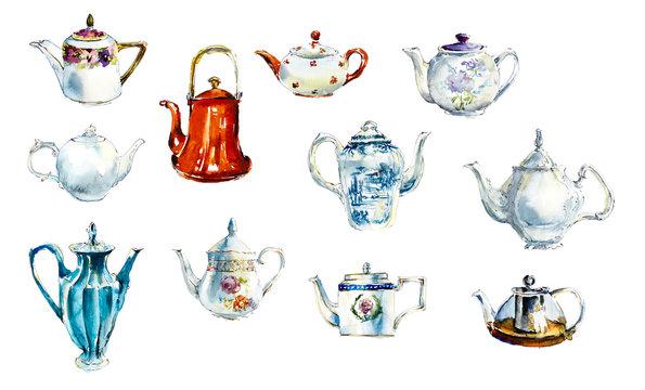 Collection teapots. Tea Time Set. Watercolor hand drawn illustration.