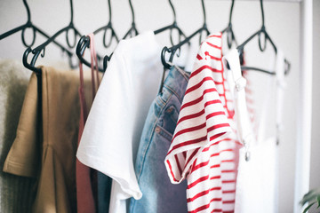 Interior Design.  clothes hanging on a hanger
