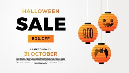 halloween sale lantern banner on white background vector illustration