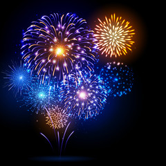 Vector holiday festival blue and gold firework. Independence day