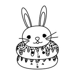 line kawaii cute donuts and male rabbit