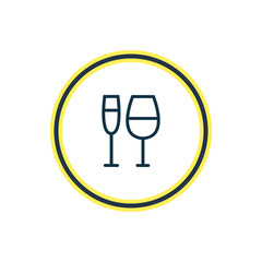 Vector illustration of wineglass icon line. Beautiful celebrate element also can be used as champagne icon element.