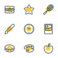 Vector illustration of 9 hobby icons line style. Editable set of palette, star, clock and other icon elements.