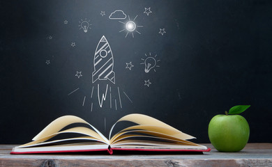 Open book creativity and learning concept