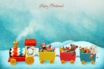 Holiday greeting card or poster with colorful train with Christmas gifts.
