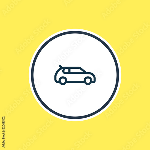 Vector Illustration Of Compact Car Icon Line Beautiful Vehicle