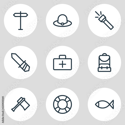 Vector illustration of 9 tourism icons line style. Editable set of ... b85750011ce7