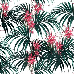 Tropical background with jungle plants. Seamless vector tropical pattern with dark palm leaves and tropical protea flowers on white background.