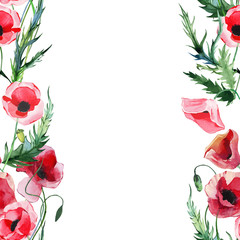Wonderful lovely bright summer autumn herbal floral red poppies flowers with green leaves watercolor hand illustration. Perfect for greetings card, textile, wallpapers, banners