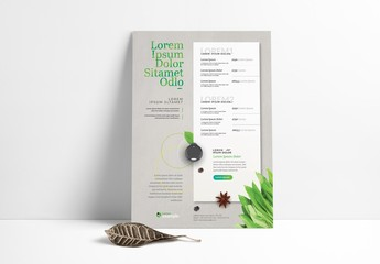 Menu Layout with Plant Imagery