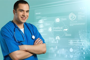 Handsome male doctor with stethoscope on neck on background