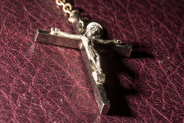 Silver Crucifix and Holy Bible in Brazil