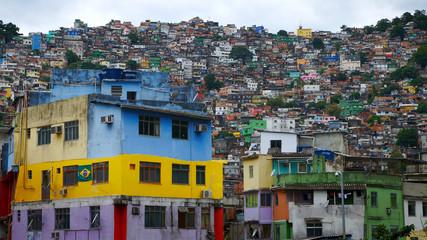 Photo sur Toile Brésil Aerial view of Rio's Rocinha favela, on a sunny afternoon.