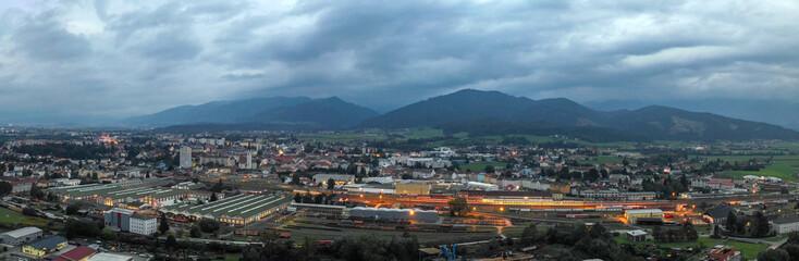 Drone view on the Austrian city Knittelfeld