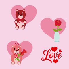 Set of love cartoons