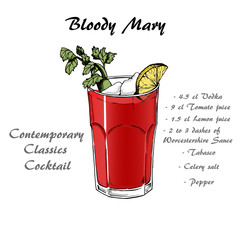 Cocktail bloody mary in sketch style for menu, cocktail cards 2