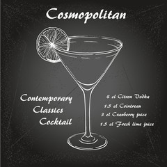 Hand drawn illustration of cocktail Cosmopoitan 1