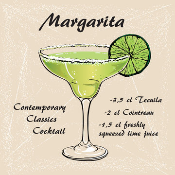 Hand drawn illustration of cocktail Margarita