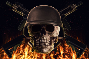Skull and rifle guns in front disposed on a black background with flames and fire. Photo manipulation artwork, 3D rendering