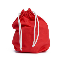 .Red bag with gifts on white isolated background.