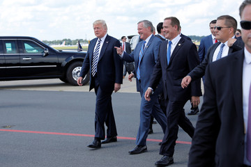 President Donald Trump arrives at Charlotte Douglas International Airport
