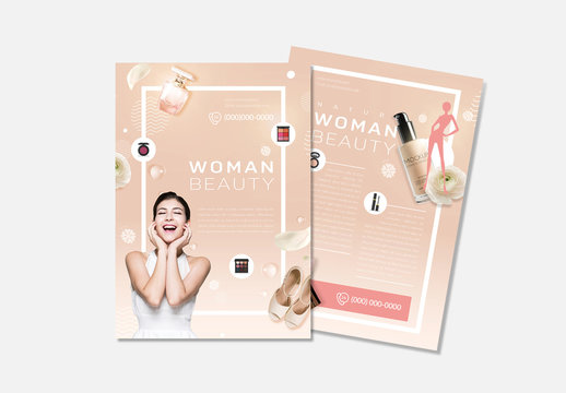 Flyer Layout With Beige Accents
