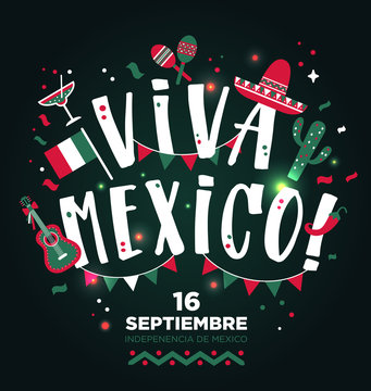 Viva Mexico hand drawn type design. Banner layout background.