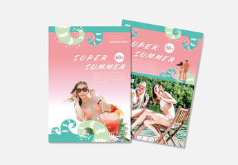 Flyer Layout With Summer-Themed Elements