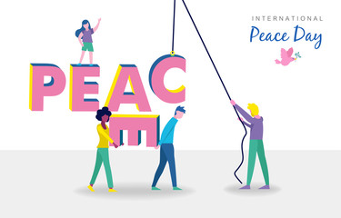 World peace day card of diverse people teamwork